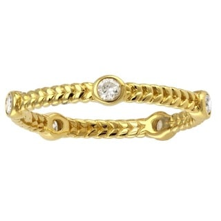 Beverly Hills Charm 14K Yellow Gold 1/4ct TDW Diamond Braided Eternity Band Ring