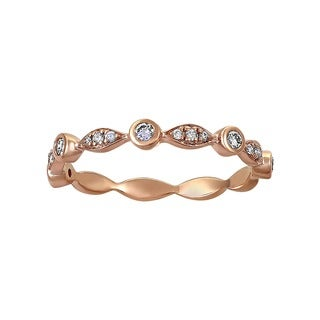 Beverly Hills Charm 14K Pink Gold 1/4ct TDW Diamond Anniversary Band Ring (H-I, SI2-I1)