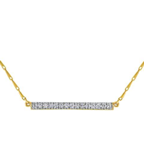 14k Yellow Gold 1/5ct TDW Diamonds Bar Necklace - White H-I