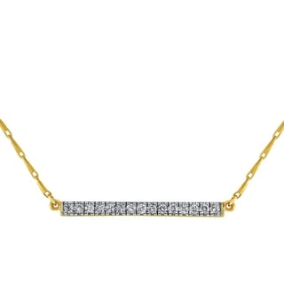 14k Yellow Gold 1 5ct TDW Diamonds Bar Necklace White H I
