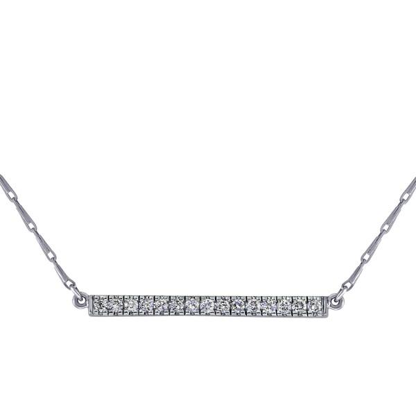 14k White Gold 1/5ct TDW Diamonds Bar Necklace - White H-I