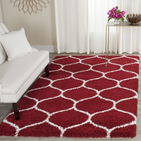 Safavieh Hudson Shag Moroccan Ogee Red Ivory Rug 3 X 5