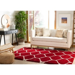 Safavieh Hudson Shag Moroccan Ogee Red/ Ivory Rug (4' x 6')