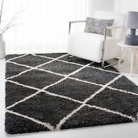 Safavieh Hudson Diamond Shag Dark Grey/ Ivory Rug - 4' x 6'