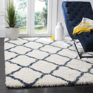 Safavieh Hudson Shag Moroccan Trellis Ivory/ Slate Blue Rug (3' x 5')