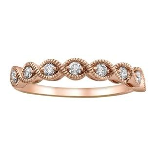 14k Rose Gold 1/4ct TDW Diamond Vintage Inspired Anniversary Band Ring - White H-I - White H-I
