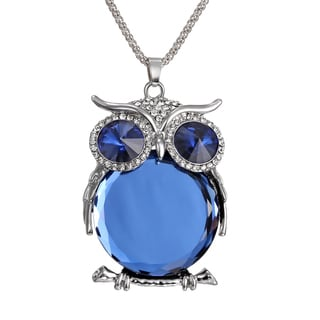 Brass and Blue Crystal Owl Necklace