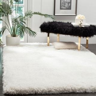 Safavieh Handmade Luxe Shag Super Plush Ivory Polyester Rug (4' x 6')