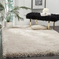 Safavieh Handmade Luxe Shag Super Plush Bone Polyester Rug - 3' x 5'