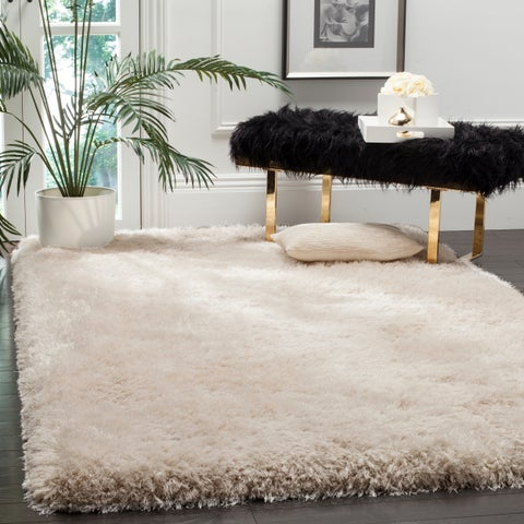 Safavieh Handmade Luxe Shag Super Plush Bone Polyester Rug - 4' x 6'