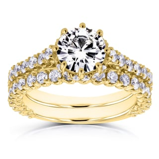 Annello by Kobelli 14k Yellow Gold 2 1/10ct TCW Forever Brilliant Moissanite and Diamond 8-Prong Standing Halo Bridal Set