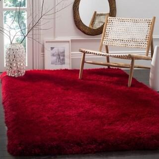 Safavieh Handmade Luxe Shag Super Plush Red Polyester Rug (4' x 6')