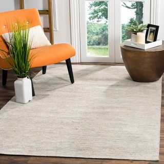 Safavieh Stone Wash Contemporary Hand-Knotted Light Grey Wool Rug (4' x 6')