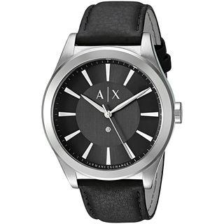 Armani Exchange Men's 'Smart' Black Leather Watch