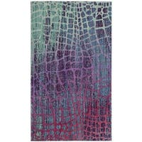 Safavieh Valencia Blue/ Fuchsia Abstract Distressed Silky Polyester Rug - 3' x 5'