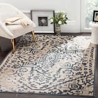 Safavieh Vintage Medallion Cream/ Blue Distressed Silky Viscose Rug - 4' x 6'