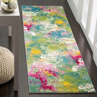 Safavieh Watercolor Contemporary Green/ Fuchsia Rug (2' 7 x 5')