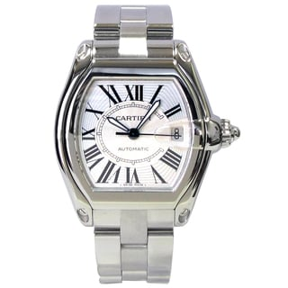 Pre-owned Large Cartier Stainless Steel Roadster Watch