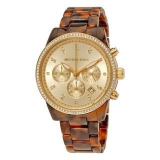 Michael Kors Women's MK6346 'Champagne' Tortoise Chronograph Crystal Brown Acetate Watch