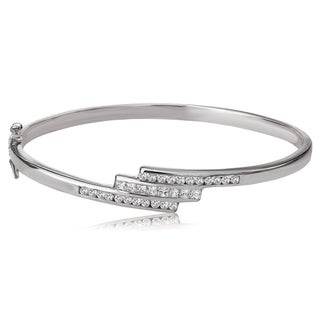 Avanti Sterling Silver Round and Princess Cubic Zirconia Three Row Bypass Bangle Bracelet