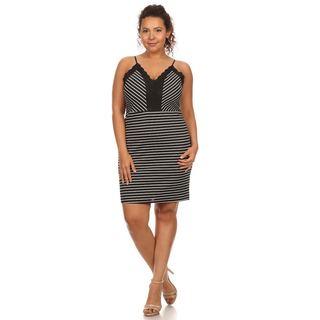 Hadari Women's Plus Size Sleeveless Party Dress Evening Cocktail Casual Mini Stripe Dress