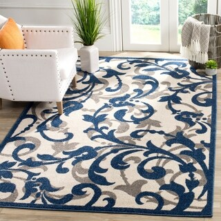 Safavieh Amherst Indoor/ Outdoor Ivory/ Navy Rug (6' x 9')