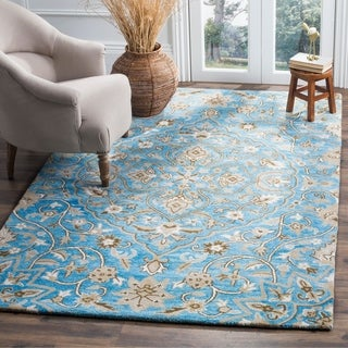Safavieh Bella Contemporary Handmade Blue/ Taupe Wool Rug (5' x 8')