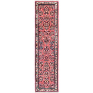 eCarpetGallery Sarough Hand-knotted Pink Wool Rug (2'8 x 10'5)
