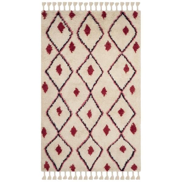 Safavieh Casablanca Handmade Moroccan Flokati Ivory/ Fuchsia Wool Rug - 5' x 8'
