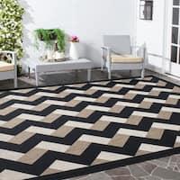 Safavieh Courtyard Contemporary Indoor/Outdoor Black/ Brown Rug (5' 3 x 7' 7)
