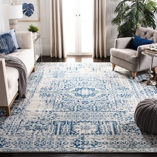 Safavieh Evoke Vintage Ivory / Blue Center Medallion Distressed Rug (5u0027 1 X  7