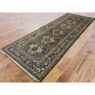Oriental Persian Balouch Blue Wool Hand-knotted Runner (3'5 x 9'3)