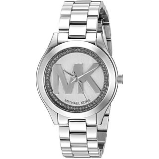 Michael Kors Women's 'Mini Slim Runway' MK Logo Crystal Stainless Steel Watch