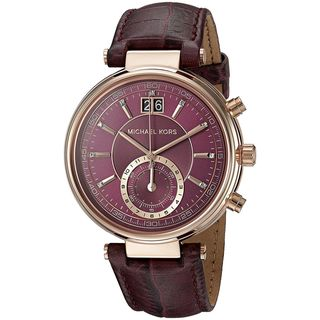 Michael Kors Women's MK2580 'Sawyer' Chronograph Crystal Purple Leather Watch