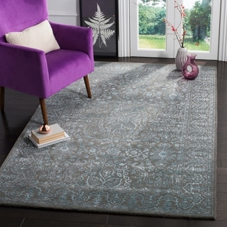 Safavieh Handmade Glamour Contemporary Blue/ Dark Grey Viscose Rug (6' x 9')