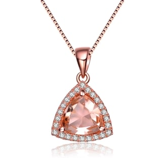 Collette Z Rose Gold Overlay Champagne Cubic Zirconia Triangle Necklace