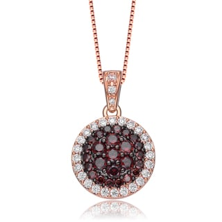 Collette Z Rose Gold Overlay Burgundy Cubic Zirconia Circle Necklace