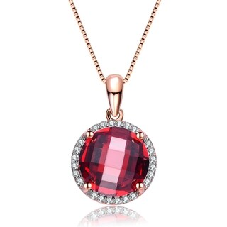 Collette Z Rose Gold Overlay Deep Red Cubic Zirconia Necklace