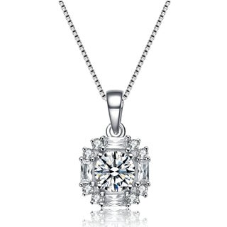 Collette Z Sterling Silver Cubic Zirconia Snowflake Necklace - White