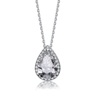 Collette Z Sterling Silver Cubic Zirconia Pear Necklace - White