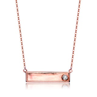 Collette Z Rose Overlay Cubic Zirconia Plate Necklace