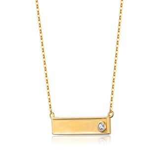 Collette Z Gold Overlay Cubic Zirconia Plate Necklace