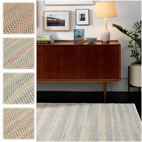 Oakmont Multicolor Wool Braided Reversible Rug USA MADE