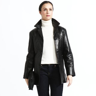 Women's Black Leather Belted Button-down Jacket
