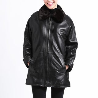Women's Black Leather Belted Jacket