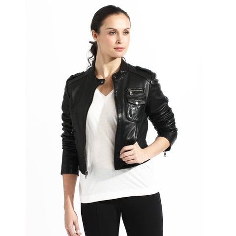 Women's Crop Black Leather Bomber Jacket