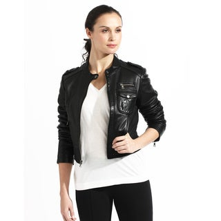 Women's Crop Black Leather Bomber Jacket