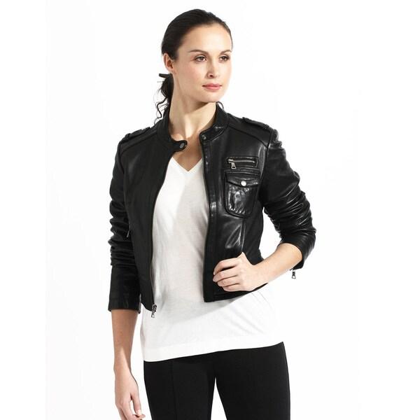 Shop Women S Crop Black Leather Bomber Jacket On Sale Free