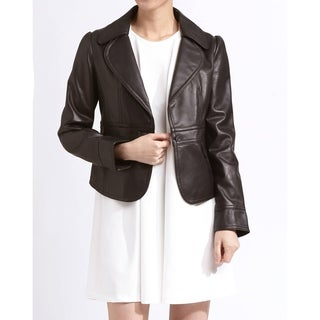 Tanners Avenue Women's 'Emma' Brown Leather Rounded Lapel Jacket
