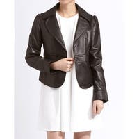 Women's 'Emma' Brown Leather Rounded Lapel Jacket